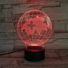 National map Switzerland Table Lamp desk 3D Illusion Touch Sensor 7 Color Changing Childrens Kids swiss Globe Night Light LED