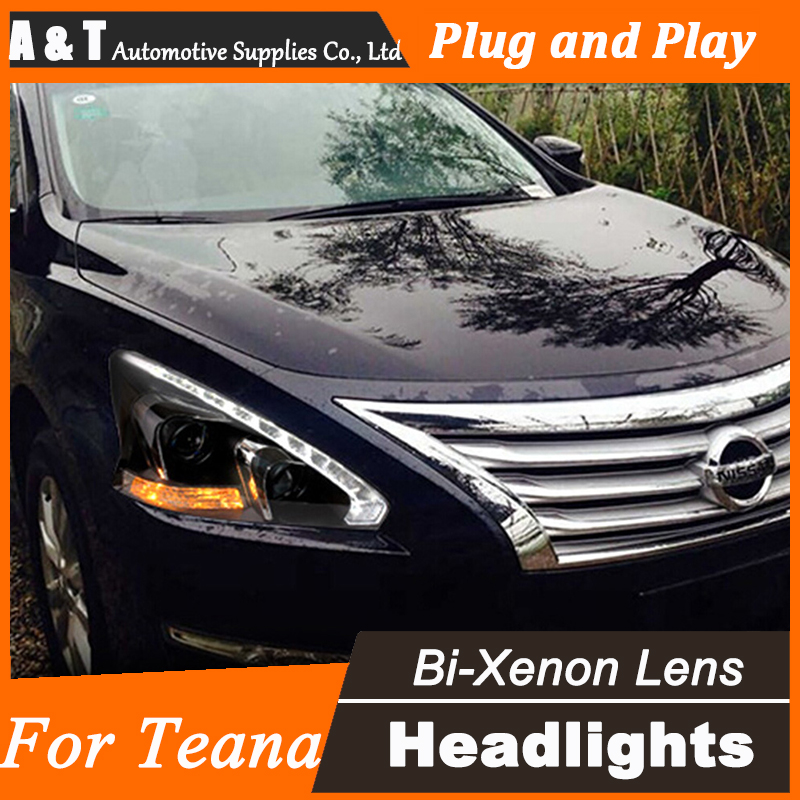 Car Styling for Nissan Teana LED Headlight Altima LED Headlight DRL Lens Double Beam H7 HID Xenon bi xenon lens dongzhen car styling for nissan teana headlights drl 2008 2012 teana led light bar drl xenon lens h7 xenon car styling
