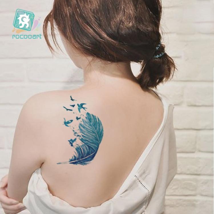 Rocooart Colorido Flechas Flash Taty Plumas Tatuaje Falso Mujeres - Tatuaje y arte corporal
