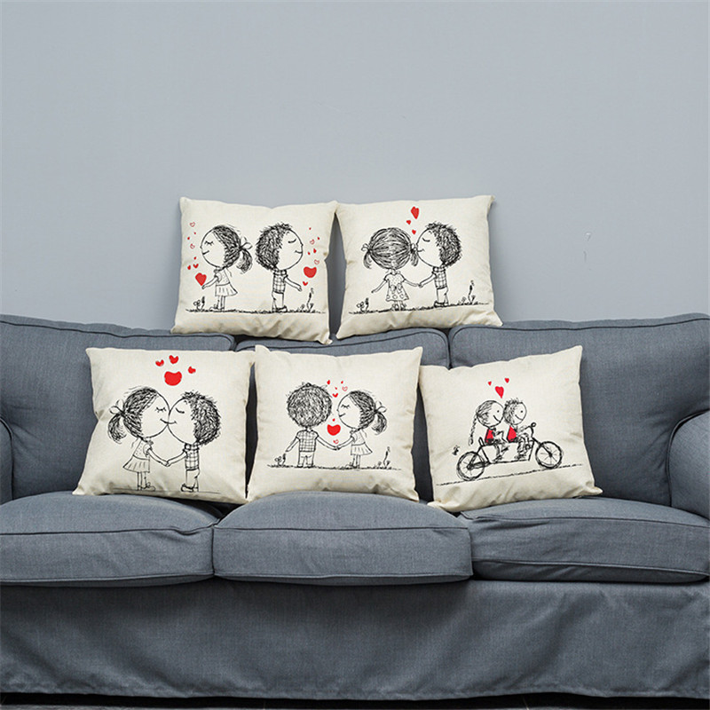 Foreign-Classic-Cartoon-Lovers-Stamp-Cotton-Pillowcase-Hold-Office-Hotel-Cushion-To-Map-Custom-Club