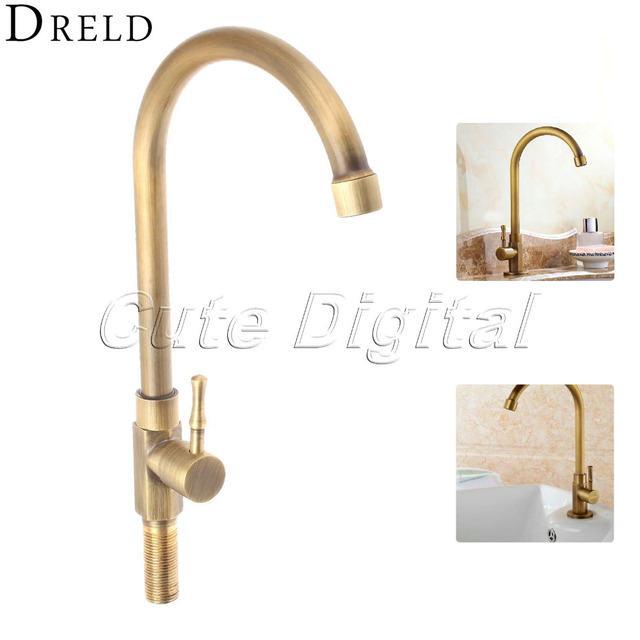 Antique Brass Luxury Bathroom Sink Faucet Single Handle Swivel Spout