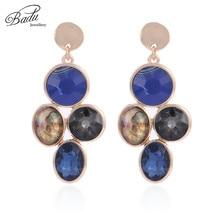 Badu Vintage Baroque Dangle Drop Earrings Natural Stone Geometric Crystal Statement Jewelry Gift for Halloween