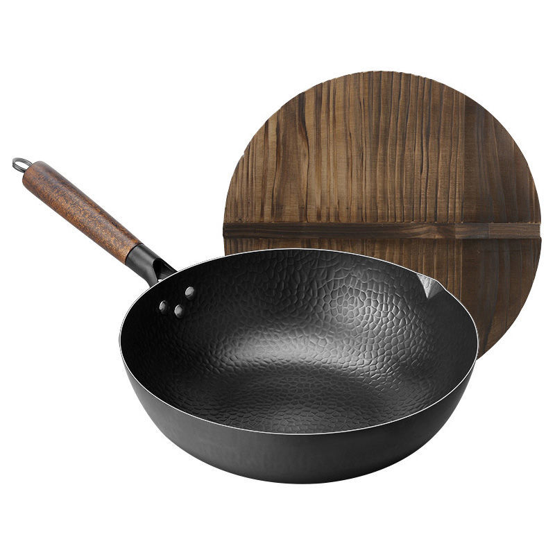 Pan Iron Pot 30cm32cm Hand Forged Iron Wok Non-stick Pan Uncoated Wok Gas Cooker Home Kitchen Pots Non Stick Pan Wok Pan Pans