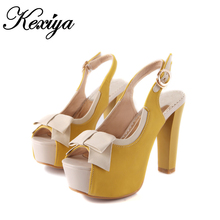 Hot sale Big size 30 52 Fashion sweet style women shoes Ultra high heels Bowknot decoration