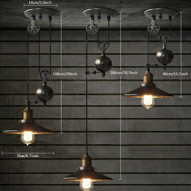 Retro Industrial Black Iron Pulley Pendant Light With Mirror Bar Pub Home Decoration Lamp E27 Edison Bulbs Lighting Fixtures