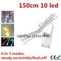 150 CM 10 led Cadena de Luz LED 3XAA Batería Portátil Operado Luces de Hadas de Luz Luces de Navidad Año Nuevo Decoración de La Boda