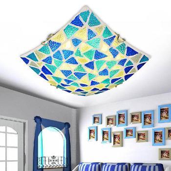 Mão Crafted Vidro Azul Conchas Do Mar mediterrâneo Lâmpada de Luz de Teto para o Quarto Casamento Deco Foyer Ac90-260v
