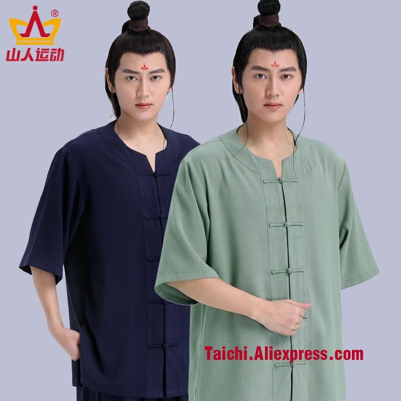 Summer New Pattern Male Female Handmade Linen Tai Chi Uniform Wushu Kung Fu Martial Art Suit  Chinese Stlye Sportswear