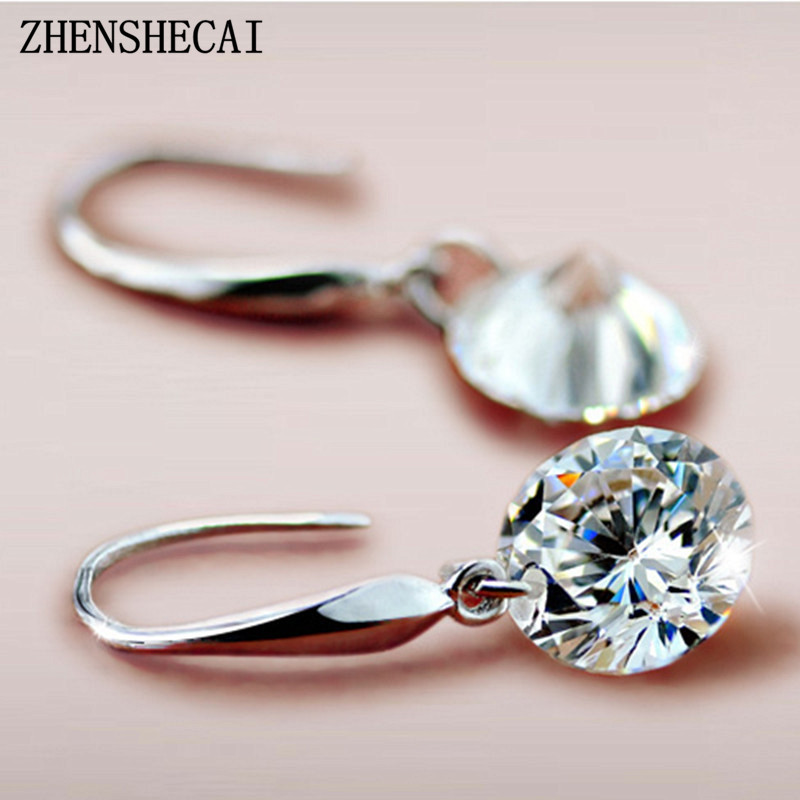 Crystal Wedding pendientes mujer Silver Color Zircon Crystal Drop Earrings Fashion Jewelry for Women brincos Party Gift e082