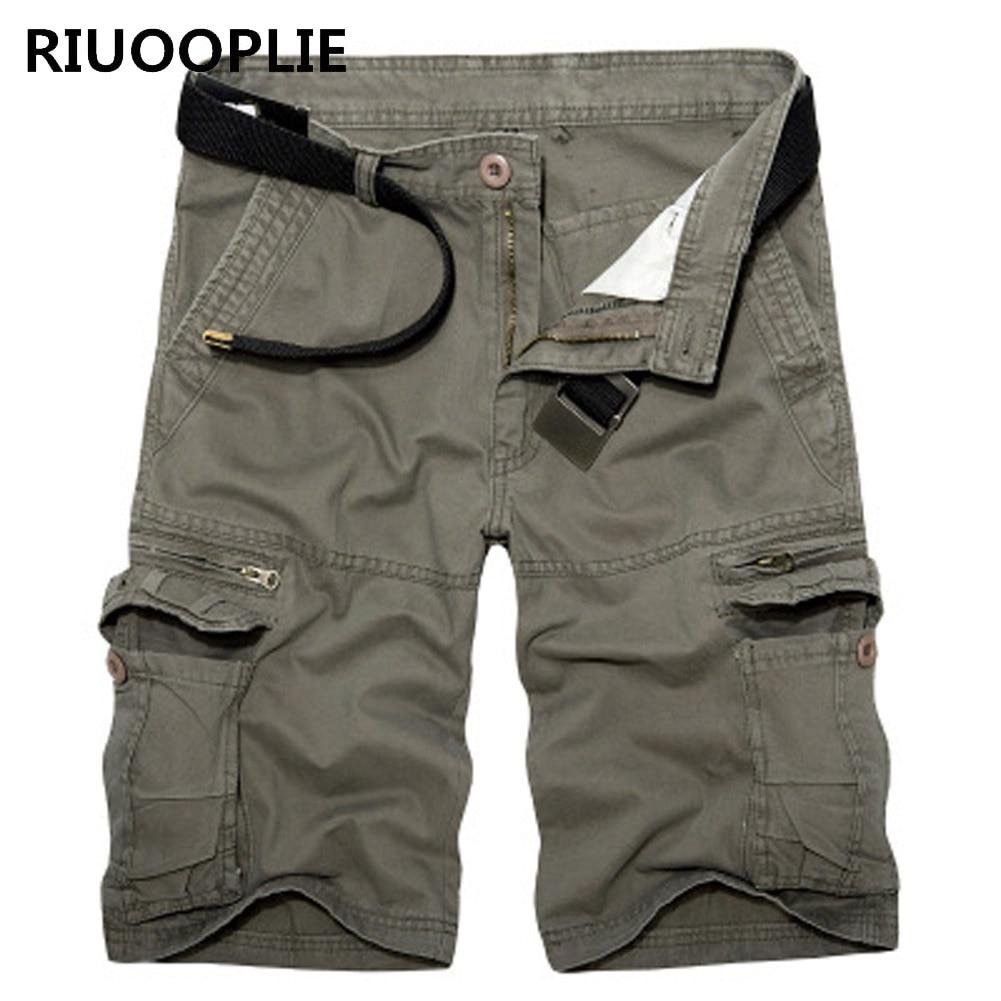 RIUOOPLIE Men Military Cargo Cotton Loose Multi-Pocket Short Homme Bermuda Trousers