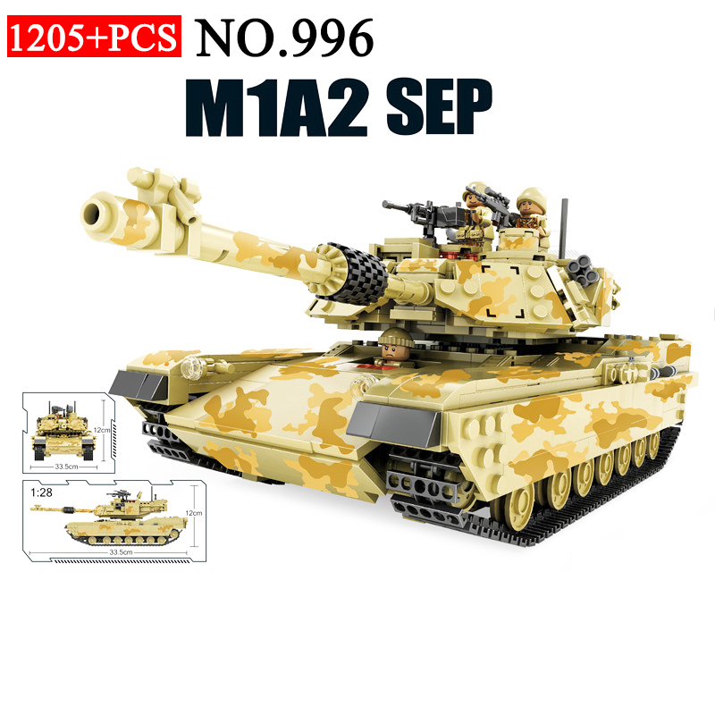 AIBOULLY 996 1205pcs 2in1 Military M1A2 Main Battle Tank Hummer Armoured Vehicle Building Blocks Toys For