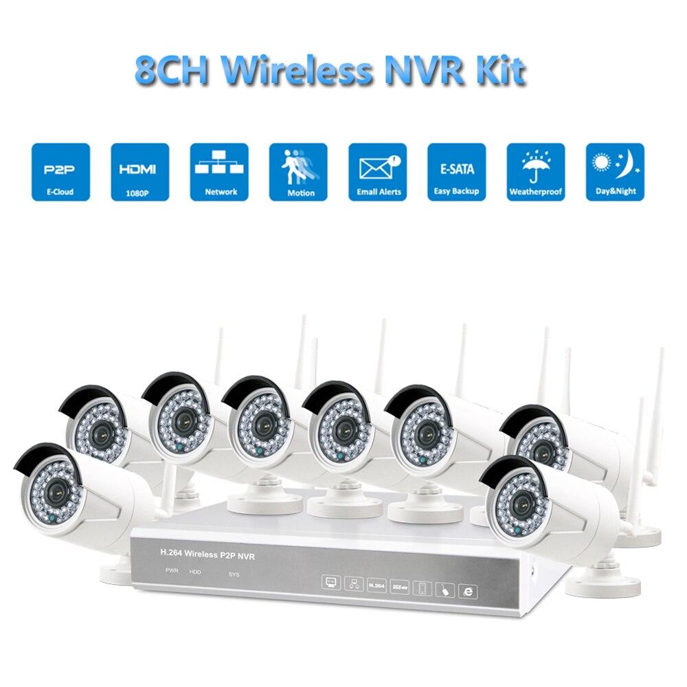 Caméra réseau sans fil IP Full HD PUAroom 8CH avec LED IR utilisée dans les systèmes de vidéosurveillance