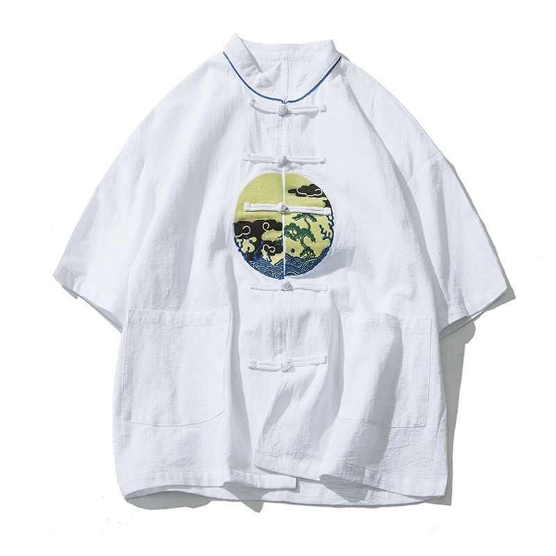 繁体字中国語服男性のための男性中国マンダリンカラーシャツブラウス武術カンフー衣装中国シャツ TA357 トップス