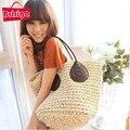 BVLRIGA estilo Verão bolsa de Palha bolsa de praia sacos a granel na moda tamanho grande bolsas de tecidos à mão bolsa de ombro bolsas de grife de alta qualidade
