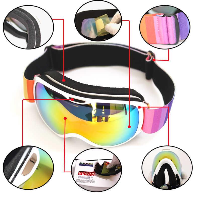 Детские лыжные очки с двойными линзами, антизапотевающие, UV400, для занятий спортом на открытом воздухе, катания на лыжах, для детей, для снега, сноуборда, защитные очки
