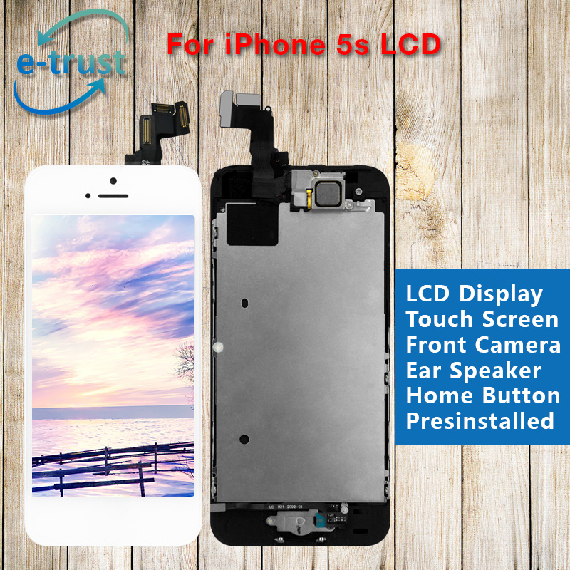 цены  e-trust Full Assembly For iphone 5S LCD Display Complete Touch Screen Digitizer AAA+Home Button+Front Camera with Free Shipping
