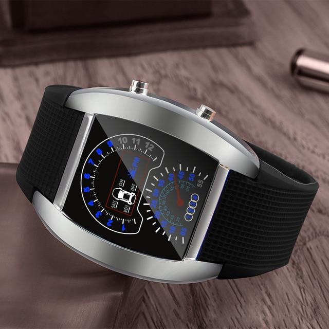 Military Fashion Aviation Turbo Dial Flash Led Watch Gift Mens Lady