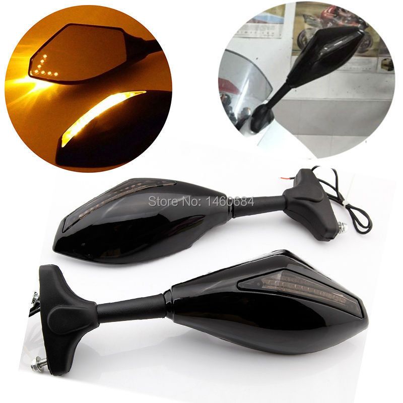 1 Pair Motorcycle Accessories LED Turn Signals Arror Integrated Rearview Mirrors For Suzuki GSXR 600 750 1000 Hayabusa sv650s