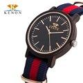 2016 Hot KENON Moda Casual Relógio Marca de Luxo Dos Homens De Madeira de Madeira Relógio Relogio masculino relógios de Pulso de Quartzo Relógios dos homens de Nylon