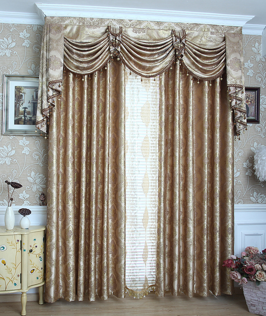 2016 Fashion jacquard curtains gold beautiful drapes tulles and ...