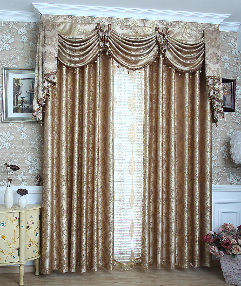 US $24.23 |SunnyHouseware Fashion jacquard curtains gold beautiful drapes  tulles and Valances luxury cortinas for living room window-in Curtains from  ...