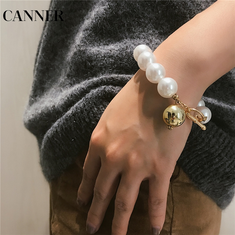 Glorious Canner New Big Size Simulated Pearl Handmade Strand Bracelets For Women European Toggle Clasps Punk Bangle Female R4