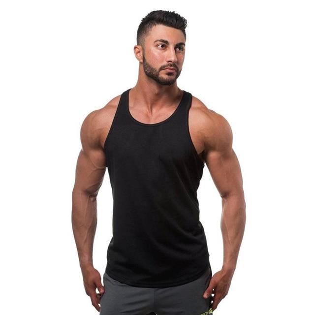 af8233d439f2a Men s Men Tank Top Fitness Vest Undershir Cotton Black Bodybuilding  clothing Fitness Tank Top Camisole Men Sleeveless T-shirt