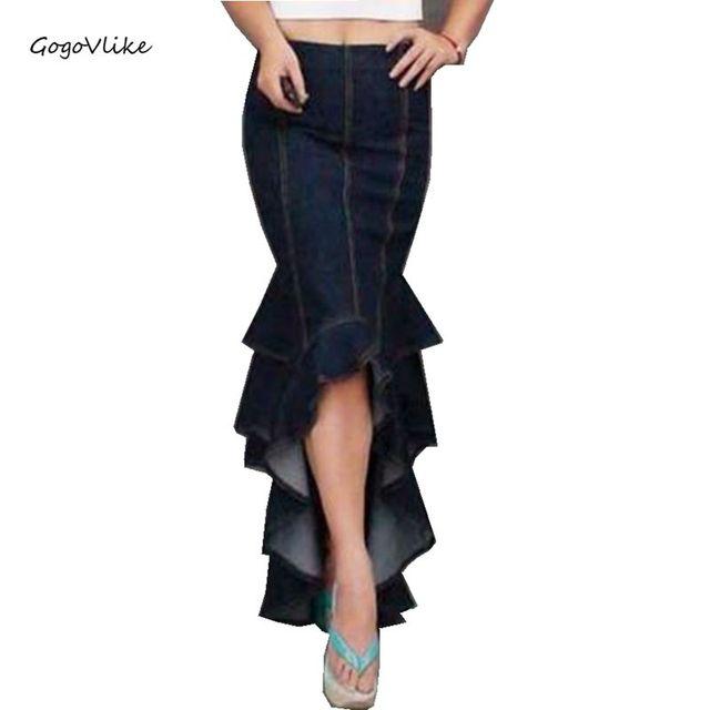 2016 Atractivo Largo azul denim fish tail falda capas azul hoja patchwork bodycon saia longa falda de cintura alta de la colmena de la sirena
