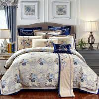 Juego de cama de lujo de Jacquard Oriental 4/6/10 piezas cama de algodón tamaño rey/reina/hoja plana conjunto de cama funda nórdica juego de cama