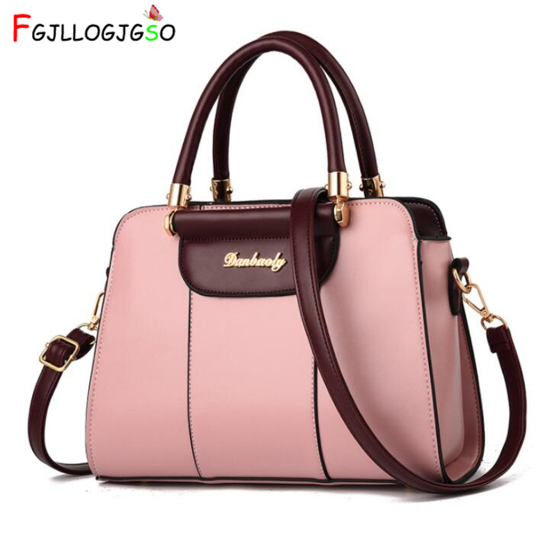 FGJLLOGJGSO 2019 Fashion Women's shoulder bag PU leather totes purses Female leather messenger crossbody bags Ladies handbags-in Shoulder Bags from Luggage & Bags