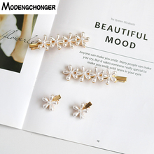1pcs Hot Selling Pearl Flowers Hair Clips For Women Girls Sweet Pins Barrette Ladie Simple Metal Hairgrip Accessories