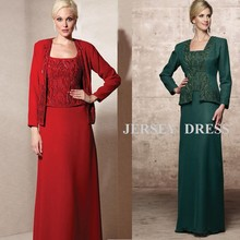 free shipping 2013 new design embroidery long-sleeve brides maid dresses red long green Mother of the Bride Dresses with jacket