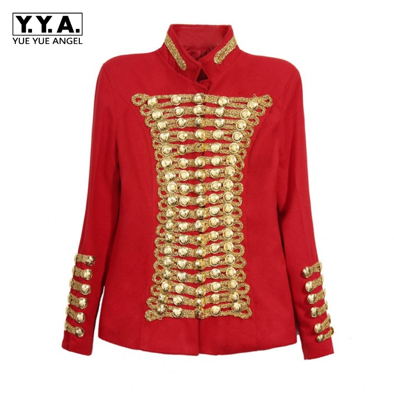 Unique Runway Fashion Rock Punk Jacket Womens Gold Buttons Army Jacket Fashion Stage Show Roupas Feminina Double Breasted Coats