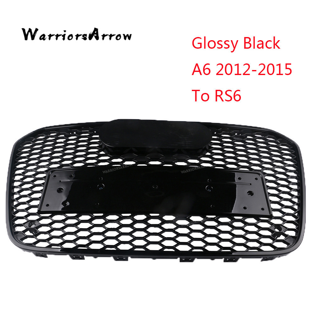 WarriorsArrow A6 2012 2015 TO RS6 Style Glossy Black Central Grille Front Bumper Racing Grills For