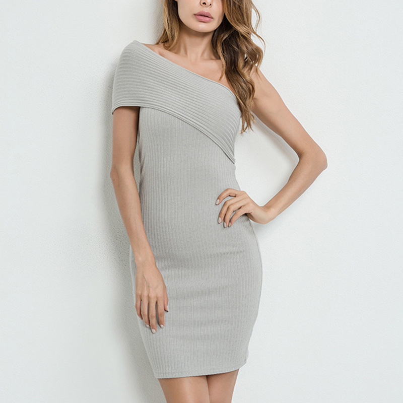 Women Off Shoulder Summer Dress Slim Bodycon Sexy Elegant Spring Short Party Knitted Dresses H9