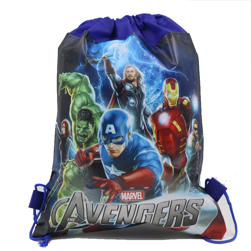 12Pcs The Iron Man Hulk Thor Cartoon Kids Drawstring Backpack Shopping School Traveling Party Bags Gift 34*27CM