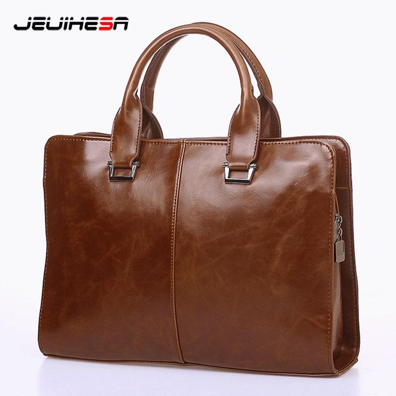 Men Casual Briefcase Business Shoulder Bag Computer Laptop 2019 Man Handbag Bag Leather Messenger Crossbody Bags Vintage Totes