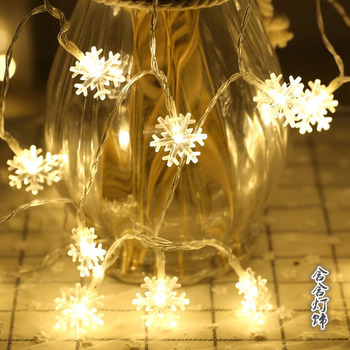 Waterproof 20/40 LED Snowflake Shape String Light Outdoor Christmas Wedding Garden Party Decorative Fairy Light image