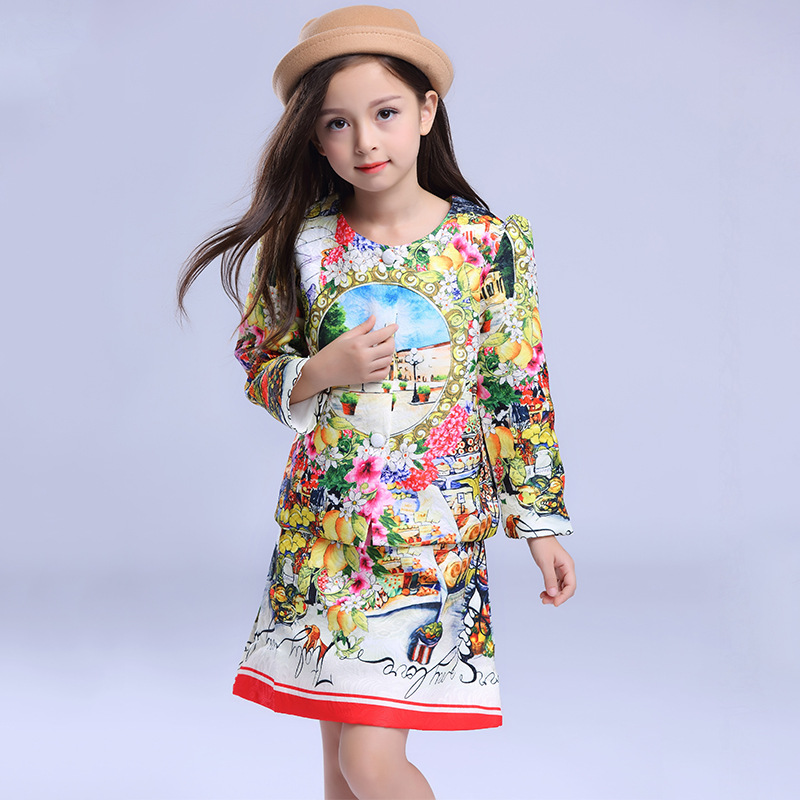 Children's clothing 2016 new winter children's clothing girls printing jacket suit + vest dress for 3-10T