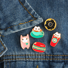 Fashion Personality Cartoon Cute Cat Hamburger Coffee Drink Donuts Brooch Pins Denim Jacket Badge Hat Collar Enamel Pin Brooches