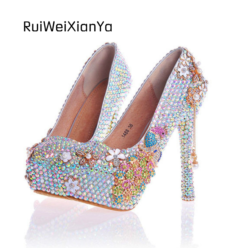 2017 New Fashion Zapatos Mujer Luxury Bridal Crystal Wedding Shoes Brand Eight Colors for Woman Pumps High Heels Plus Size Hot 2017 new fashion spring ladies pointed toe shoes woman flats crystal diamond silver wedding shoes for bridal plus size hot sale