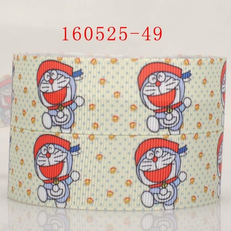 NEW free shipping 50 yards 7/8  22mm cute jump doraemon pattern printed grosgrain tape ribbon hairbow DIY handmade