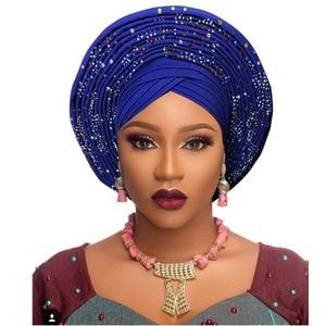 Image 3 - Geleneksel afrika başkanı sarar afrika şapka headtie kadın nijeryalı gele türban bandı zaten yapılmış aso oke gele headtie