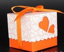 100pcs Pink/ Purple/Yellow/Blue/Orange/Red heart candy box