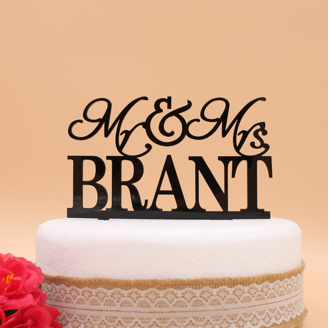 Personalized wedding cake topper, Acrylic Custom name cake topper ...