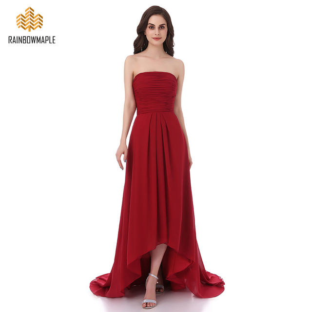 12e5b8afa4c Elegant Burgundy Chiffon High Low Bridesmaid Dresses Pleated Strapless Long  Bridesmaid Dress Cheap Formal Prom Party Gowns