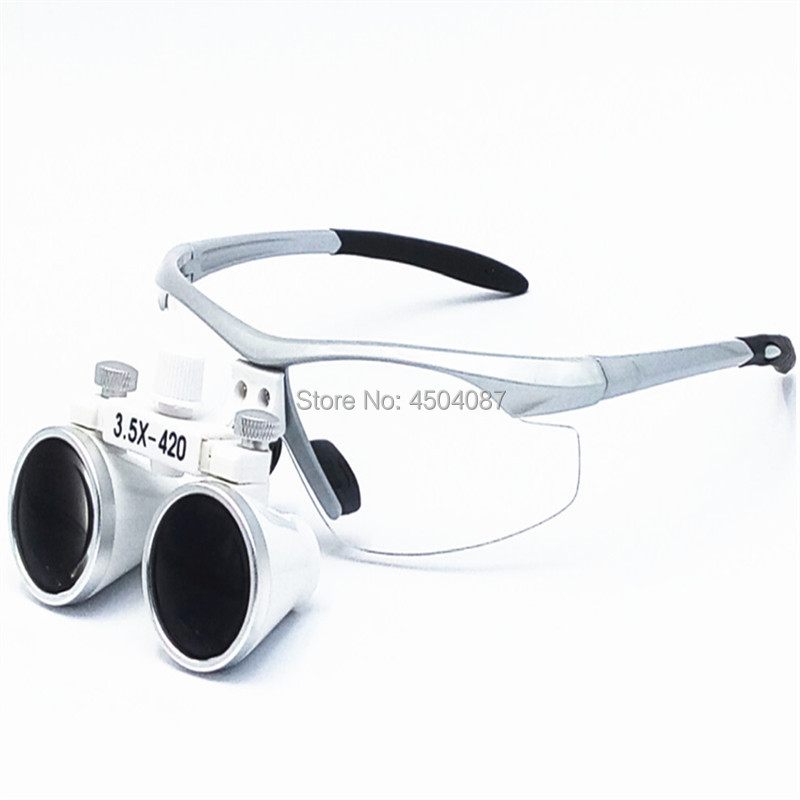 High Quality Silver Plastic Frame Medical Loupes 3.5X Binocular Magnifier Medical Dental Surgical LoupesHigh Quality Silver Plastic Frame Medical Loupes 3.5X Binocular Magnifier Medical Dental Surgical Loupes