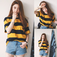 2019 neueste Heiße Frauen Sommer Bee Striped O Neck Baggy T-Shirts Damen Beiläufige Lose Tops T-shirt M-2XL(China)