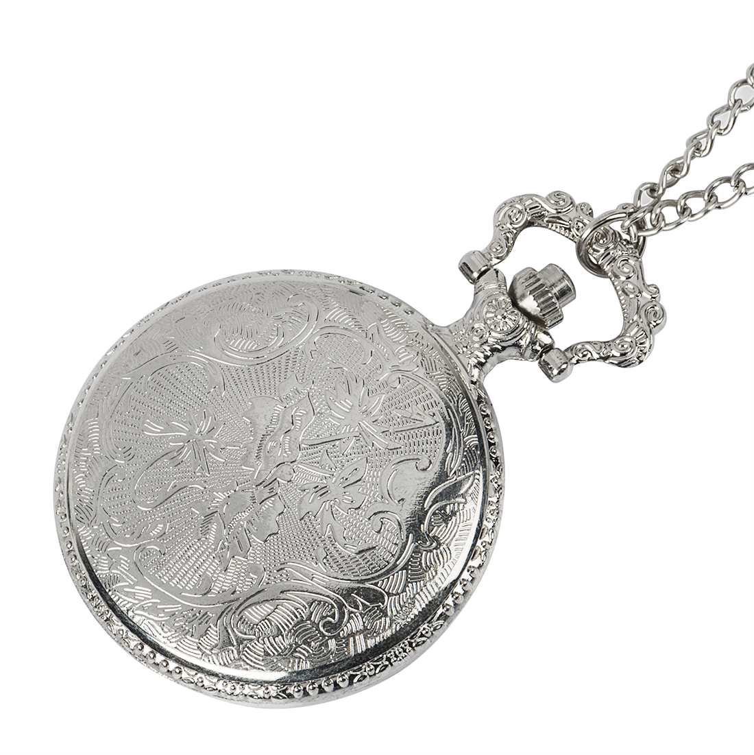 New Silver Roman Arabic Number Quartz Antique Pendant Chain Pocket Watch for Men and Women Gift in Pocket Fob Watches from Watches