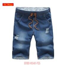 2017 fashion men's brand jeans men casual straight denim skinny distressed jeans elastic waist slim fit knee length blue cheap